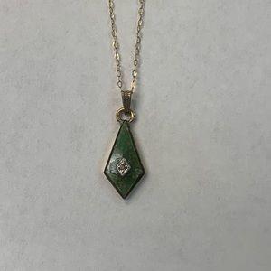 Jewelry - 12k G.F. Green Chrysoprase Diamond Accent Necklace